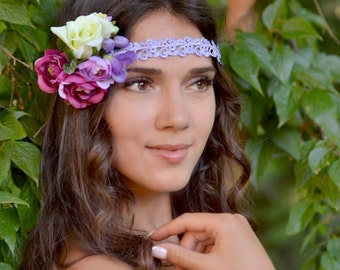 Bridal flower crown Boho wedding floral crown Lilac Floral hair wreath halo Rose Peonies crown Lavender wedding headpiece Purple crown