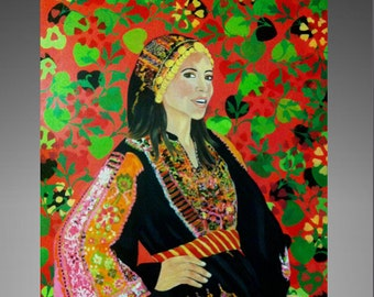 palestinan art ,Original painting , contemporary art .modern wall art , Palestinian woman custom,palestinian home decor,palestinian wall art