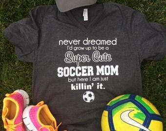 Soccer Mom t-shirt V-Neck Super Cute + free gift