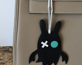 Leather Monster Bag Charm on Silk Cord (Series I)