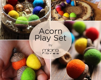 Rainbow Acorn Play Set | Felted and Eco friendly toys.
