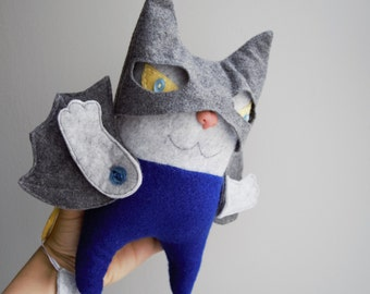 "Toddler toy, educational toy cat, felt toy, rag toy, stuffed toy for kids, stuffed felt cat, Batman toy ""Catman"""