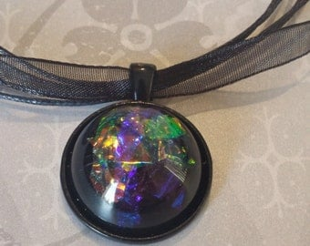 Faux Dichroic Glass Necklace Iridescent Cabochon Resin Pendant