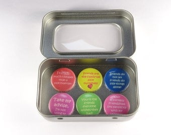 Best Friends Magnet Set. 6 x 25mm magnets complete with gift tin. Perfect Stocking Filler, Gift for Her