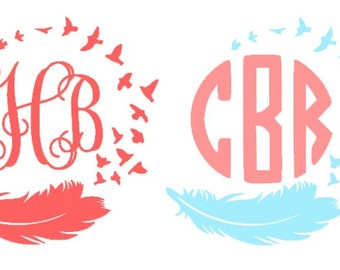 Feather and Birds Monogram Decal- Free spirit monogram, interlocking monogram circle, monogram, vinyl decal