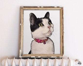 Cat Lover Gift, Cat Illustration Custom, Cat Art Custom, Cat Portrait, Crazy Cat Lady, Personalized Gift for Cat Lover
