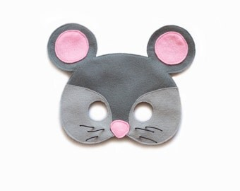 MOUSE Felt Mask - Farm Animal Mask - Child's Adult Mask - Play mask - Gray Mouse costume accessory