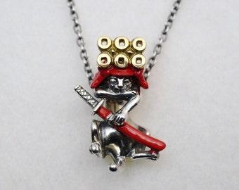 Silver Samurai cats neckless chain - SANYADA