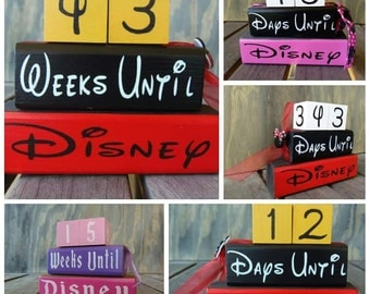 Disney Countdown Blocks Reversible Days Until Disney World Weeks until vacation countdown/Hand Painted/Disneyland/Mickey Mouse/Minnie/Custom
