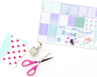 Teenies-Personal Size Mermaids Song Weekly Planner Sticker Kit for Kikki K, Color Crush, or Most Personal Planners.