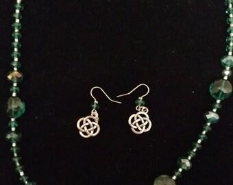 Teal Celtic Inspired Necklace Set