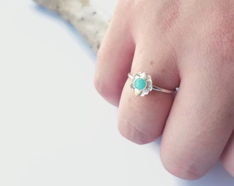 Dainty Sterling Silver Ring - Stackable Flower Ring - Delicate Layer Jewelry - Amazonite Ring - Sterling Nature Ring - Minimalist Stack Ring