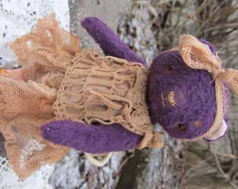 Marishka - artist teddy bear from German viscose fabric.