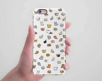 Neko Atsume Cat Funny Case Cute Cover Cat lover Gift Case for iPhone 7 iPhone 6S iPhone 7 Plus iPhone 5 5S 5C to Galaxy S5 S6 Edge Note 5