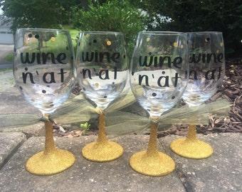 Glitter Wine Glass, Glitter Dipped, Glitter Dipped Wine Glass, Wine N At, Funny Wine Glass, Pittsburgh Wine Glass, Pittsburgh Gift, Wine