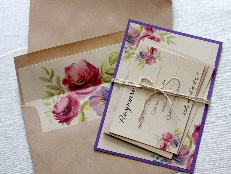 Purple Rustic Wedding Invitations: Purple Rustic Wedding Invitations Plum Wedding Invitation