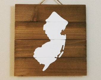 Rustic Wood Pallet New Jersey State Sign
