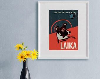 Space Dog, Laika. Illustration Art Print.