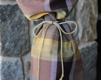 Plaid Wine Bag, Housewarming/Host or Bachelor Gift