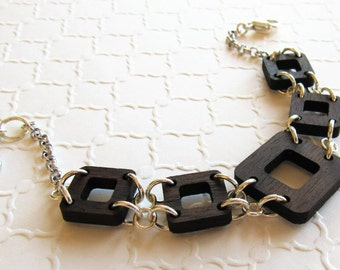 Geometric Wood Bracelet, Square Bracelet, Modern Bracelet, Wood Link Bracelet, Bridesmaid Jewelry, Retro Bracelet, Bohemian Jewelry, Unique