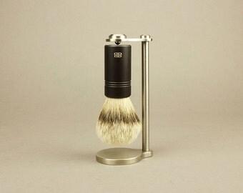 Magnetic Brush Stand & Brush with Anodized Aluminum Handle, Magnetic Shaving Stand, Wet Shaving Brush Stand, groomsmen gift, shaving gift
