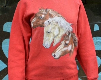 Vintage XS bright red horsey sweatshirt