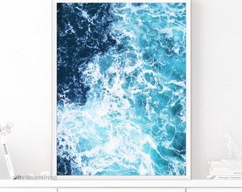 Ocean Wave Print, Wave Art, Wave Printable, Ocean Print, Sea Print, Sea Art, Beach Print, Ocean Art, Blue Art, Blue and White, Teal Print
