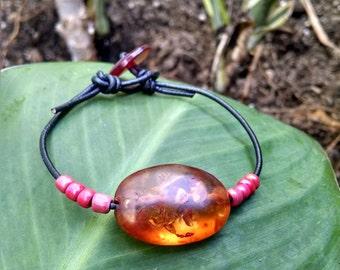 Amber and Black Leather Handmade Bracelet