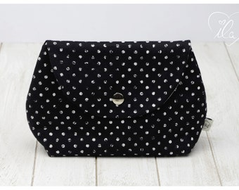 Cosmetic bag for baby dummies make up powder hygiene products cream tissues black and white dotted ILA - isn't life amazing