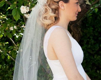 Bridal Elbow length veil with white handshaped feathers