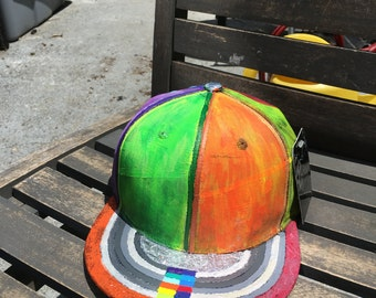 """Hand Painted One of a Kind Baseball Cap """"Skater's Madnexx"""" by Laz KBETHOS Snapback FREE SHIPPING Adjustable"""
