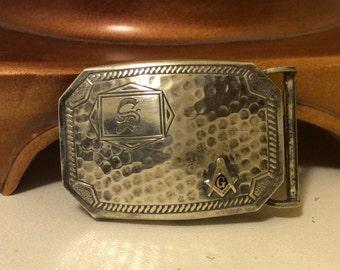 Vintage Sterling Silver Belt Buckle Masonic Free Mason Enamel Compass Rule