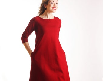 Red casual dress, red long sleeve dress, midi dress with pockets, office casual dress, a line dress, spring dresses, quarter sleeve dress