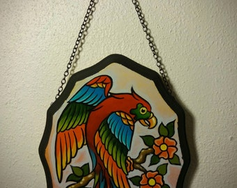 Original hand painted tattoo flash art parrot in acrylic on wood plaque