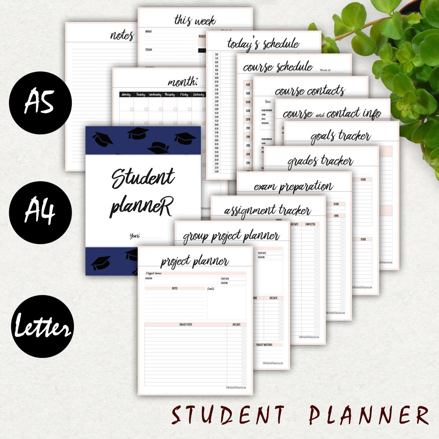 college student planner printable a5 a4 letter 2017 high