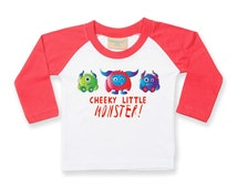 Funny baby t shirt - Monster t shirt - monster party clothing - toddler clothing - baby boys outfit - modern baby tops - cheeky monster top