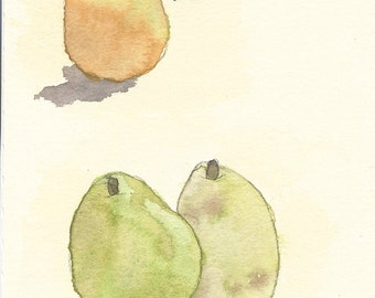 Original Watercolor Painting - Pears, Kitchen Art