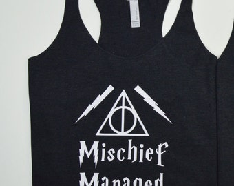 Harry Potter Mischief Managed Triangle Tank: Women's Racerback Shirt- 9 Colors Available