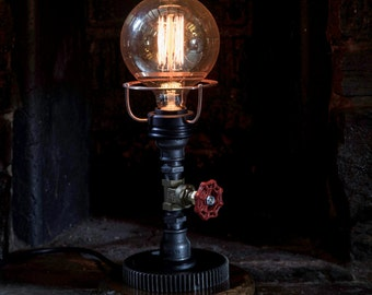 Hand Crafted Industrial/Steampunk Lamp With Large Tap Detailing