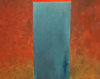 Oil with piece of wood image 'Elements' on canvas 100 x 50 x 4 cm