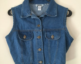 vintage cropped denim vest