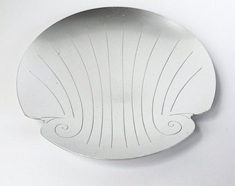 SALE Vintage Art Deco Nautical Plate, Kensington Aluminum Tray, Great Gatsby Art Deco 1930s Style