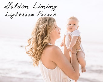 Gold Lining Clean Warm Lightroom Preset Professional Photo Editing for Portraits, Newborns, Weddings By LouMarksPhoto