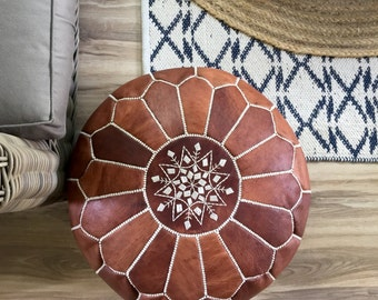SALE*** STUFFED Moroccan Leather pouf ottoman with top embroidery in Dark Tan