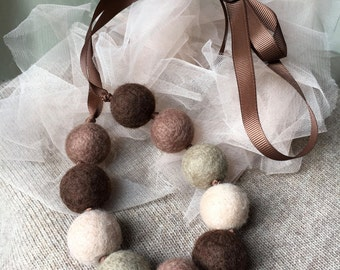 Felted Necklace in brown/beige