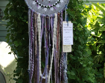 Large Purple Vintage Doily and Crystal Dreamcatcher