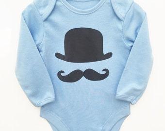 Hat & Moustache Black Print Vest Bodysuit Onesie