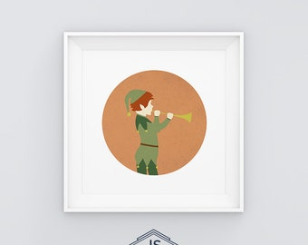 Elf playing the trumpet . Printable digital illustration. Fantasy. Mythology.