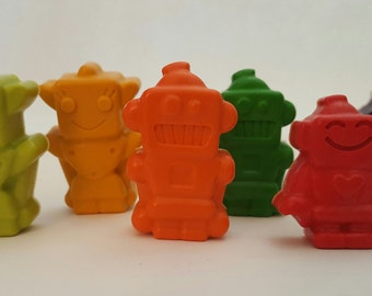 Robot Crayons, Set of 8, Birthday Gifts, Kids Party, Kids Coloring