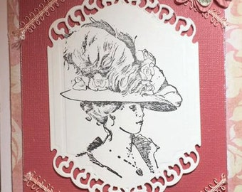 Victorian Birthday Card, Get Well Soon, Mother's Day, Thinking of You, Handmade Greeting Card